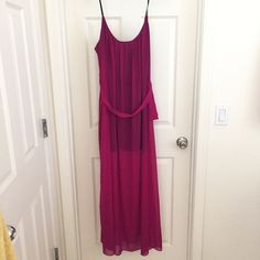 Fuschia Maxi Sheer, chiffon maxi. Stretchy straps and has coverage underneath. Beautiful color. Does have a few snags but not really noticeable. Worn a couple times. Forever 21 Dresses Maxi