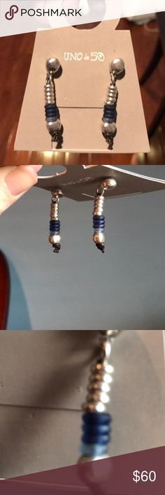 New UNO DE 50 earrings Gorgeous handcrafted in Spain, sterling silver with blue stones. Uno De 50 Jewelry Earrings