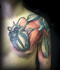 3D heart and muscles bio mechanical tattoo on chest