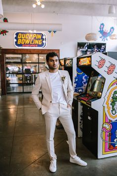 Thinking about eloping and looking or unique inspo? We've got you covered. This colorful elopement is filled steal-worthy ideas. Groom Attire, Groom And Groomsmen, Modern Groom, Stylish Suit, Elopement Inspiration, Wedding Men, Arcade Games, Wedding Accessories, Elopements