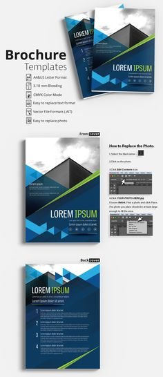 Brochure Cover Layout with Green and Blue Accents #Brochure - pamphlet layout template