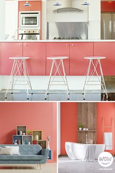 Guava is a blend of orange and pink that creates a fun and vibrant pinkish hue. It is perfect for creating a space filled with energy and excitement. If you wish to create a more relaxing room, go for a softer more pastel version of guava pink. Relaxing Room, Relaxation Room, Painting Kitchen Cabinets, Kitchen Paint, Kitchen Makeovers, Next At Home, House Painting, Interior And Exterior, Hue