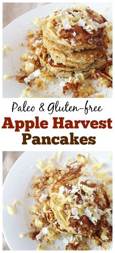 These #Paleo Apple Harvest Pancakes are perfect #fall breakfast! You would never guess that there is hidden veggies in here! #healthy #glutenfree