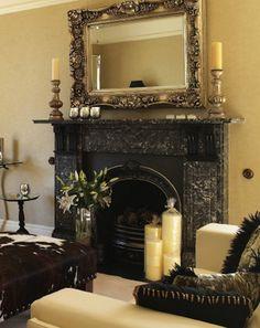 fireplace, mirror