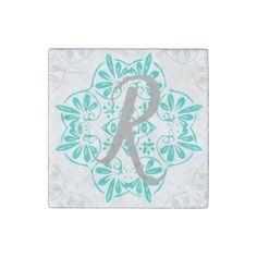 Gray Turquoise Modern Kaleidoscope Damask Pattern Stone Magnet - rustic gifts ideas customize personalize