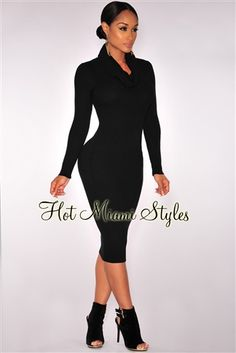 Must have for Autumn! HMS Black Knit Ribbed Cowl Neck Dress