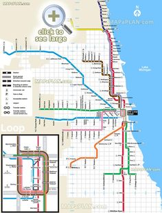 el l train subway metro tube underground blue red brown pink orange purple yellow lines stations cta public transportation railway system network O'Hare Midway airport terminal Chicago top tourist attractions map