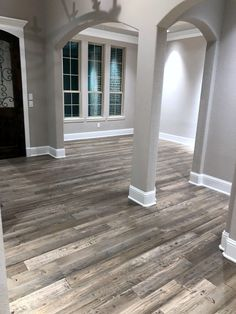 Love this photo of our Barnwood hand scraped Doug Fir flooring sent in from a cu&; Love this photo of our Barnwood hand scraped Doug Fir flooring sent in from a cu&; House Design, House, House Flooring, Home Remodeling, Hardwood Floors, New Homes, Farmhouse Flooring, Flooring, Reclaimed Wood Floors