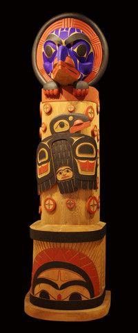 "Wee-Git Releasing The Light Totem Pole - Lyle Wilson - 9'x33""x30"" - red cedar"
