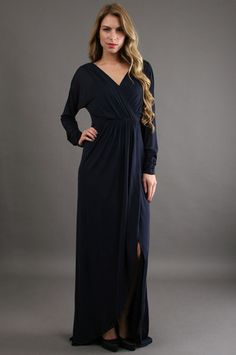 eudoxie-kay-unger-v-neck-jersey-dress-navy-gown-wrap.jpg 299×450 pixels