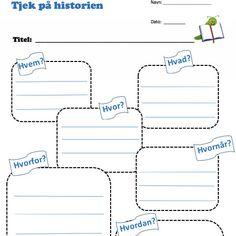 tjek på historien - overblik over en bog eller fortælling Cooperative Learning, Pictogram, Public School, Crafts For Kids, Language, Classroom, Teaching, Education, Historia