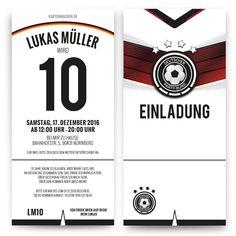Einladungskarten zum Kindergeburtstag als Deutschland Trikot (Diy Geschenke Jungs)