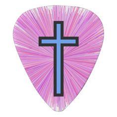 Light Blue Christian Cross & Line Burst Pattern