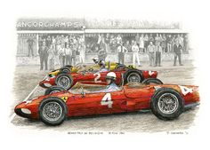 """Spa-Francorchamp 1961 — Ferrari Line-up 50 years ago this year, Phil Hill won the Formula 1 World Drivers' Championship, the first American to do so; he took both the Belgian and Italian Grands Prix. Pen&ink, markers and pencil 12""""x 9"""" © Paul Chenard 2011"""