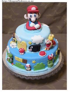 Super Mario Bros Cake / Bolo by Dragonfly Doces, ..Jack wants a Mario for his birthday!