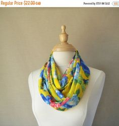 Sale Large Infinity ScarfFloral Brights of Yellow by fayeslipp