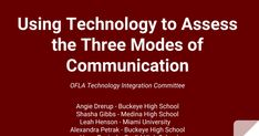 OFLA Using Technology to Assess the Three Modes of Communication Technology Integration, University Of Miami, Ipa, Assessment, Conference, Communication, High School, Presentation, Chinese