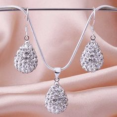 New Style! Free Shipping!10mm Handmade Disco Ball Beads Men Gift Crystal Shamballa Jewelry Set Fasion Necklace EarringSBS028
