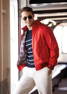 Brooks Brothers | Men's Fashion | Menswear | Men's Casual Outfit for Spring/Summer | Red, Navy and White | Moda Masculina | Shop at designerclothingfans.com