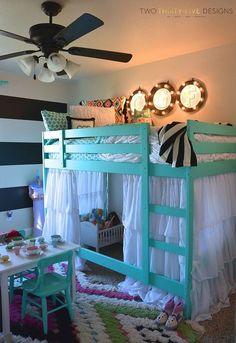 ikea bunk bed hack, bedroom ideas, painted furniture, reupholster
