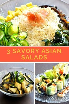 3 Savory Asian Salads- Healthy and flavorful recipes for a satisfying lunch.