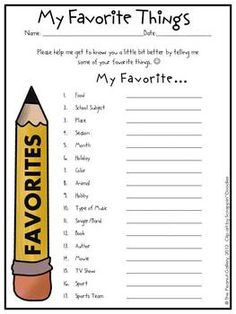 FREE! I have my students fill this out in the beginning of the year.