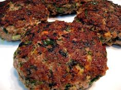 Spinach and Beef Burgers....maybe I'd use turkey or chicken instead