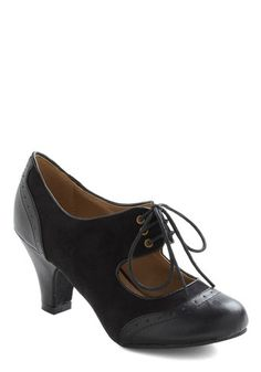 The Best of Times Heel in Noir - Black, Menswear Inspired, Mid, Faux 5ecf78baf7f
