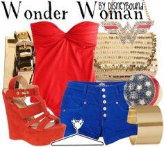 Wonder Woman by DisneyBound. Fashion inspired by Wonder Woman. Disney Bound Outfits, Disney Dresses, Disney Clothes, Disfraz Wonder Woman, Wonder Woman Outfit, Mode Geek, Disney Inspired Fashion, Disney Fashion, Estilo Disney