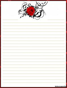 37) MON PAPIER A LETTRE TATOO ROSE Printable Lined Paper, Free Printable Stationery, Printable Recipe Cards, Lined Writing Paper, Writing Papers, Stationery Paper, Note Paper, Planner, Book Of Shadows