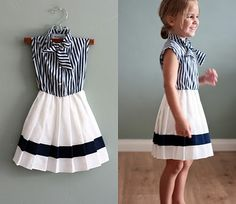 Would be so easy to make! Blouse + White fabric + Navy ribbon! So cute.