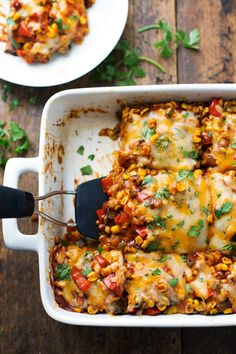 Healthy Mexican Casserole with Roasted Corn and Peppers - vegetarian, 230 calori. - Healthy Mexican Casserole with Roasted Corn and Peppers – vegetarian, 230 calories, and naturally - Healthy Mexican Casserole, Healthy Casserole Recipes, Vegetarian Recipes Dinner, Easy Dinner Recipes, Mexican Food Recipes, Healthy Recipes, Easy Recipes, Dinner Ideas, Vegetarian Food