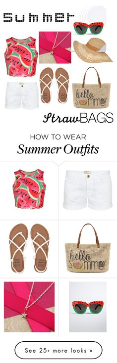 """Watermelon summer outfit"" by jessies3683 on Polyvore featuring Straw Studios, WithChic, Current/Elliott, Billabong, Argent of London, Torrid and strawbags"