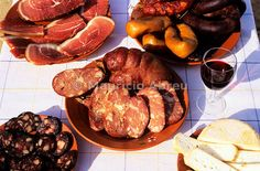Traditional portuguese sausages. Tomar, Portugal