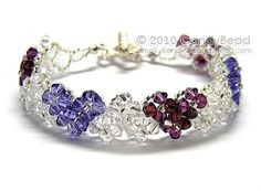 Purple Heart Swarovski Crystal Bracelet with Silver Toggle Clasp by CandyBead