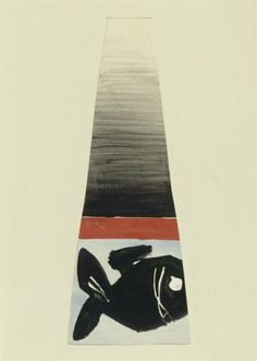 Bohumil Elias, design of glass vase with abstract decoration, water color and gaouche on paper, 46,0 x 19,0 cm, Prague, 1963 - 67