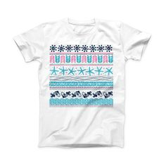 The Jumping Fish Repeating Pattern ink-Fuzed Front Spot Graphic Unisex Soft-Fitted Tee Shirt from DesignSkinz