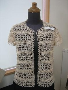 Tatted lace cardigan.   Make that with longer sleeves and it's *perfect*!