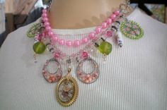 Pink and green garden charm necklace Sentimental/Reminiscence