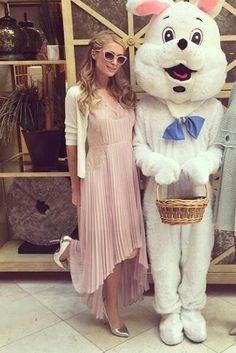 Paris Hilton wearing Charlotte Olympia Silver Monroe Pumps, BCBG Angelea Pleated Dress and H&H White Cardigan