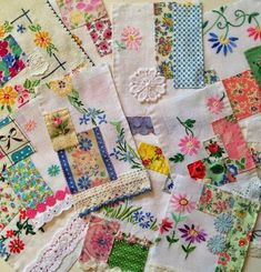 Linen pieces made into quilt blocks