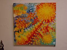 Jasmina Vladimirova, Le Soleil, Huile sur toile, 90x90cm, Peinture de l'Affiche de l'Exposition 2005, Collection privée,Exposition de Peintures à l'Huile sur toile, Galerie Aktuaryus à Strasbourg 2005 (19)