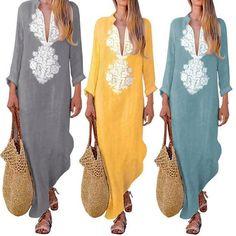 61f9b1987e4c Summer Boho Long Maxi Dress Long Sleeve V-neck Women Dress Clothesrric –  rricdress Beach