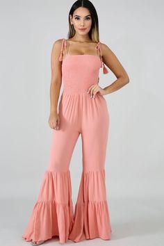 99752f00d14 Women Pink Shirred Tassels Ruffles Flared Hem Casual Jumpsuit - S