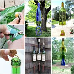 Everyone will love the sound of these beautiful Wine Bottle Wind Chimes! They look fantastic and will be a real feature piece to your outdo. Recycled Wine Bottles, Wine Bottle Crafts, Bottle Art, Recycled Glass, Wine Bottle Tiki Torch, Wine Glass, Make Wind Chimes, Make Your Own Wine, Tiki Torches