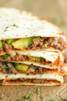 Cheesy avocado beef quesadillas