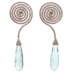 ADLER Diamond Aquamarine White Gold Dangling Spiral Earrings | From a unique collection of vintage dangle earrings at http://www.1stdibs.com/jewelry/earrings/dangle-earrings/