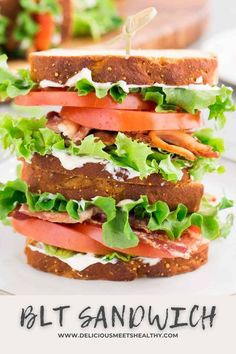 This classic BLT sandwich is a great go to recipe for a quick lunch that the whole family will love. One simple but delicious bite. Best Lunch Recipes, Healthy Sandwich Recipes, Healthy Sandwiches, Delicious Sandwiches, Breakfast Recipes, Dinner Recipes, Bacon Recipes, Picnic Recipes, Delicious Meals