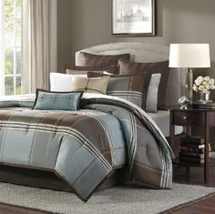 Lincoln Square with Shades of Brown, Grey and Light Blue Reversing to Solid Warm Brown Comforter Sets by Madison Park