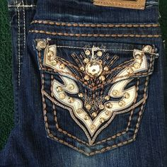 Miss Chic Jeans Bling & Stitched back Pockets of Jeans. Boot Cut Size 7 Miss Chic Jeans Boot Cut